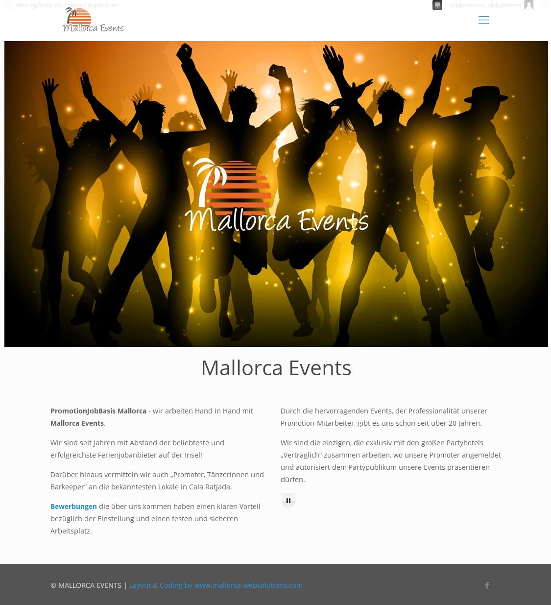 Mallorca Events Entwicklung der CI, Grafik & Layout für Online & Printwerbung www.mallorcaevents.net