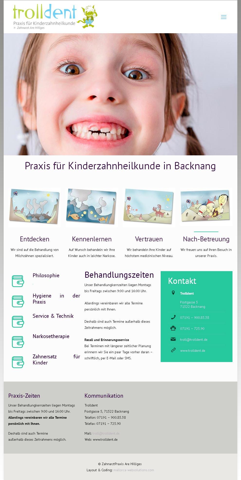Kunde: ZA Are Hilliges Entwicklung der CI, Grafik & Layout für Online & Printwerbung www.trolldent.de