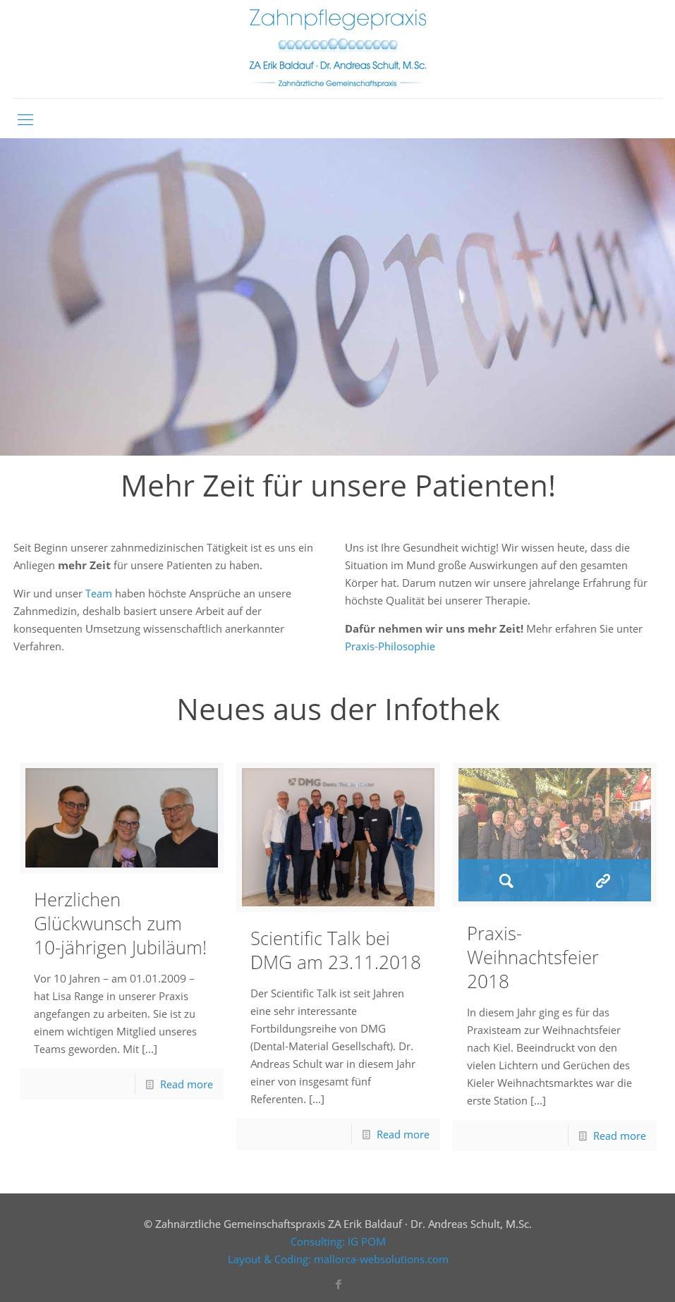 Kunde: ZA Baldauf / Schult Entwicklung der CI, Grafik & Layout für Online & Printwerbung www.zahnaerzte-bad-bramstedt.com
